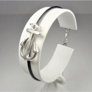 Jewelry - NAUTICAL BOAT ANCHOR BLACK LEATHER BRACELET